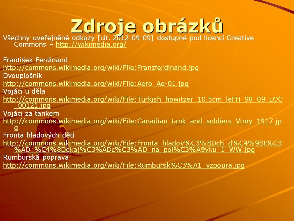 Zdroje obrázků Všechny uveřejněné odkazy [cit. 2012-09-09] dostupné pod licencí Creative Commons – http://wikimedia.org/